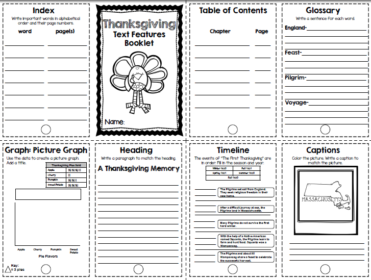 Ms. Winston's Blog: Thanksgiving Text Features Booklet