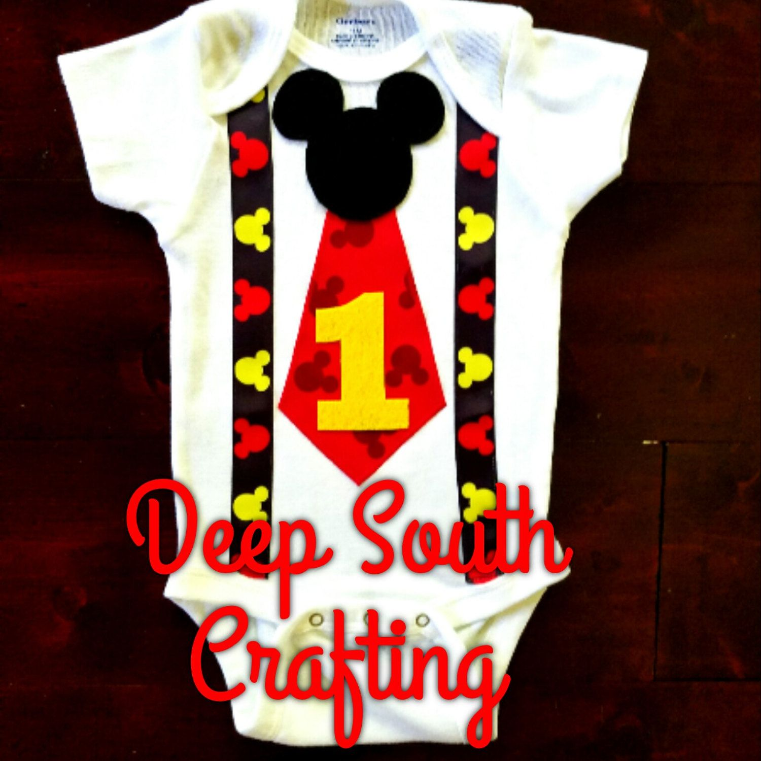 6fe115b2b Mickey Mouse inspired First second third birthday onesie toddler shirts  sewn on tie suspenders custom made quality baby onesie bodysuit.