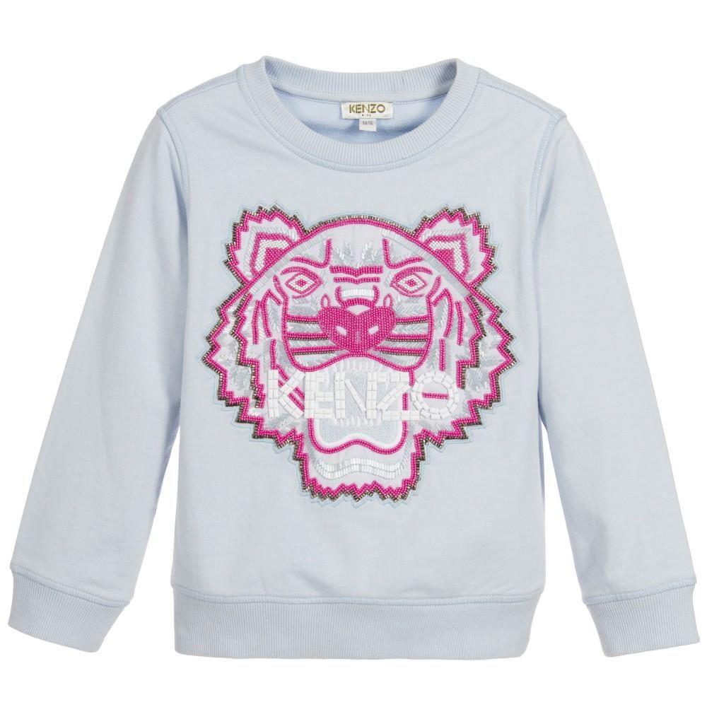 0f7e24a7b07e Girls Powder Blue Tiger Sweatshirt