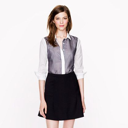 J.Crew - Collection THOMAS MASON® For J.Crew chiffon-trim shirt - Pair with a dark or bright pencil skirt or dark pants for a chic office look.