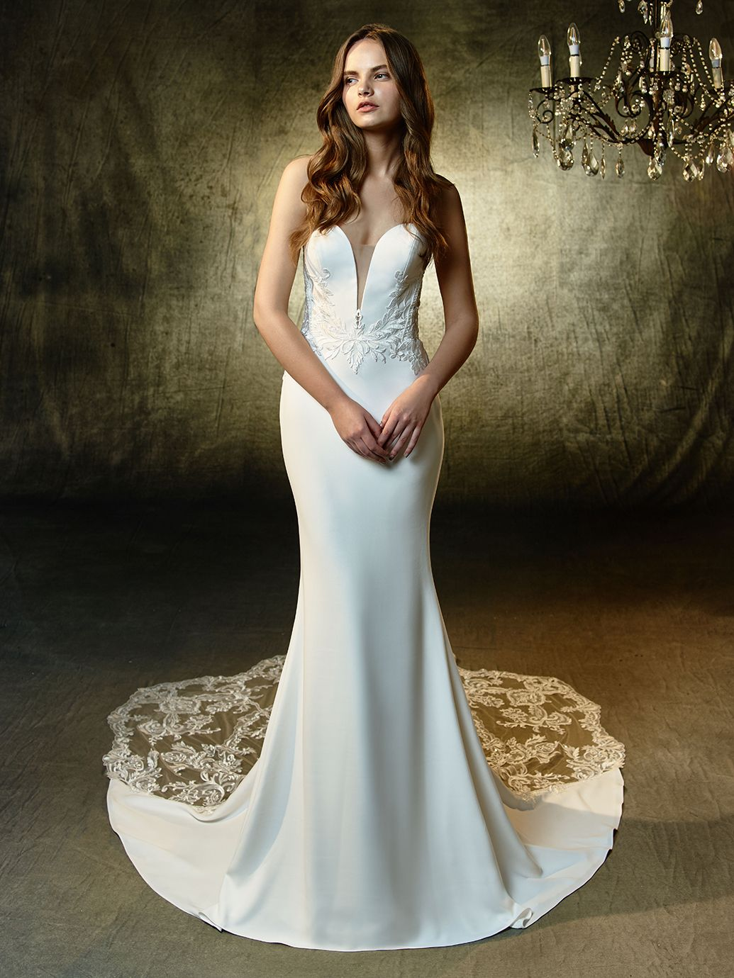 A Sumptuous Mermaid Gown Constructed With Sequin Embroidered Lace On Soft Stretch Georgette The S Enzoani Wedding Dresses Brides Wedding Dress Wedding Dresses [ 1380 x 1035 Pixel ]