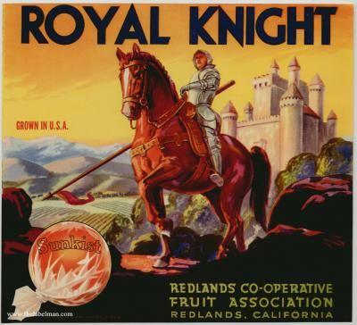 ROYAL KNIGHT Vintage Orange Crate Label