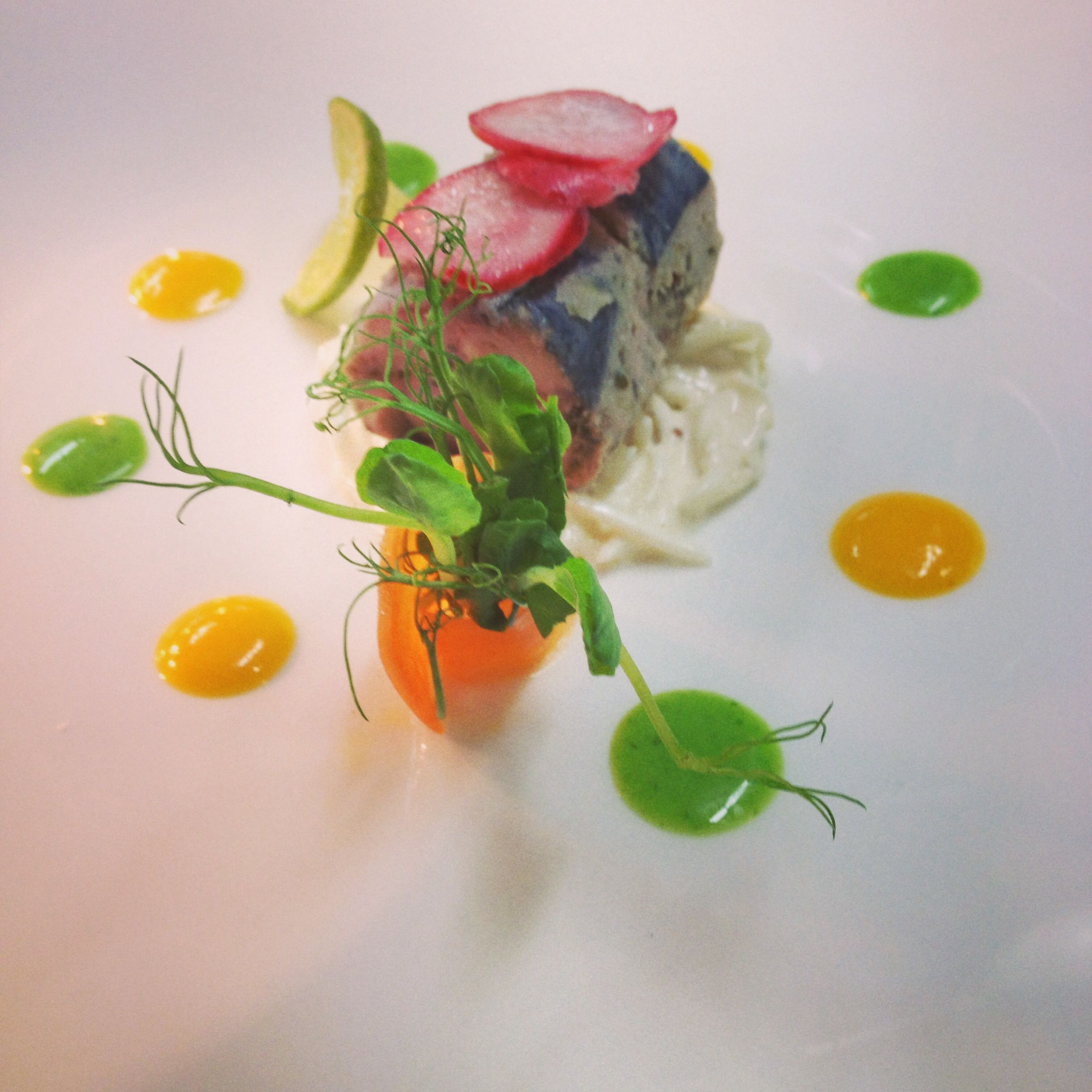 """Guernsey smoked mackerel """"ballottine"""", celeriac rémoulade, pickles radishes and spinach coulis"""