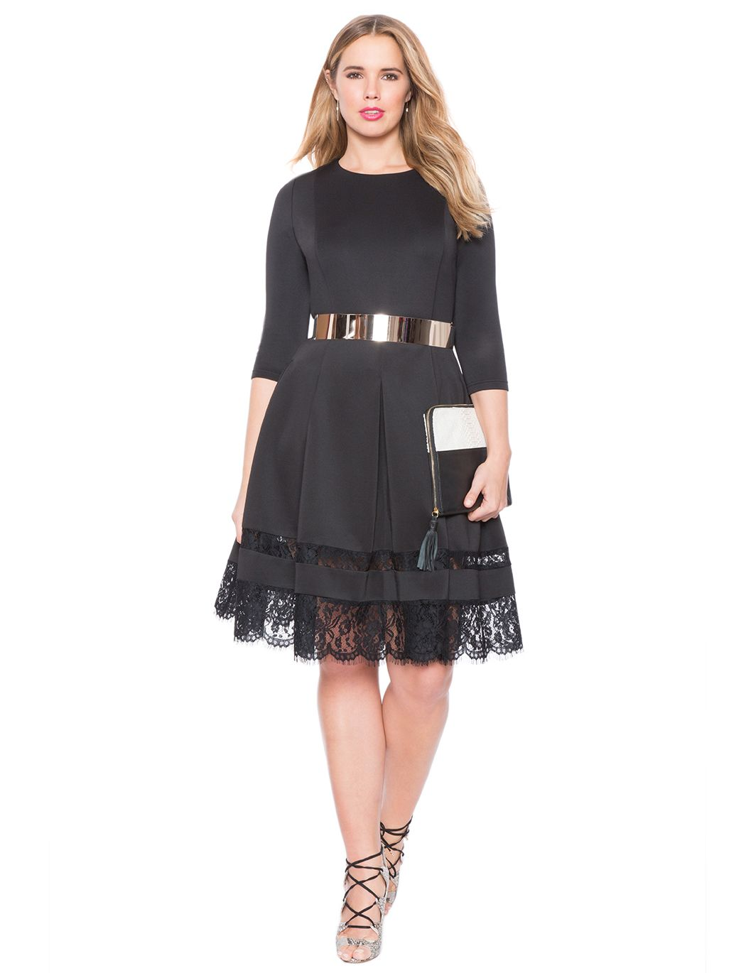 3aba5e88b349 Lace Insert Fit and Flare Dress | Women's Plus Size Tops | ELOQUII ...