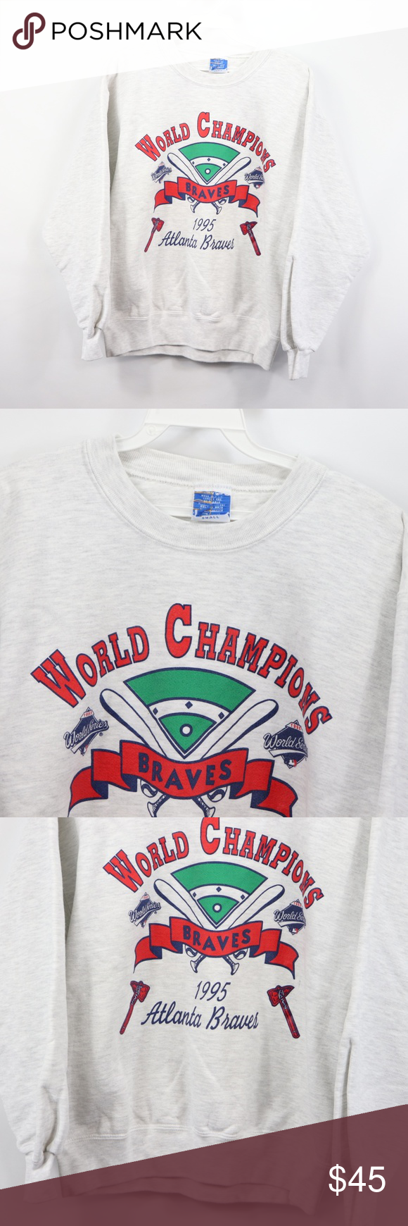 Vtg Mens Small Atlanta Braves World Series Sweater Atlanta Braves World Series Sweaters Atlanta Braves