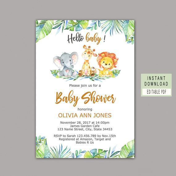 Safari Baby Shower Package Safari Baby Shower Invitation Etsy Safari Baby Shower Invitations Printable Baby Shower Invitations Baby Shower Invitations Safari Theme