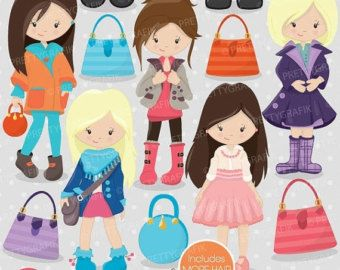 80% OFF SALE London girls clipart commercial by Prettygrafikdesign