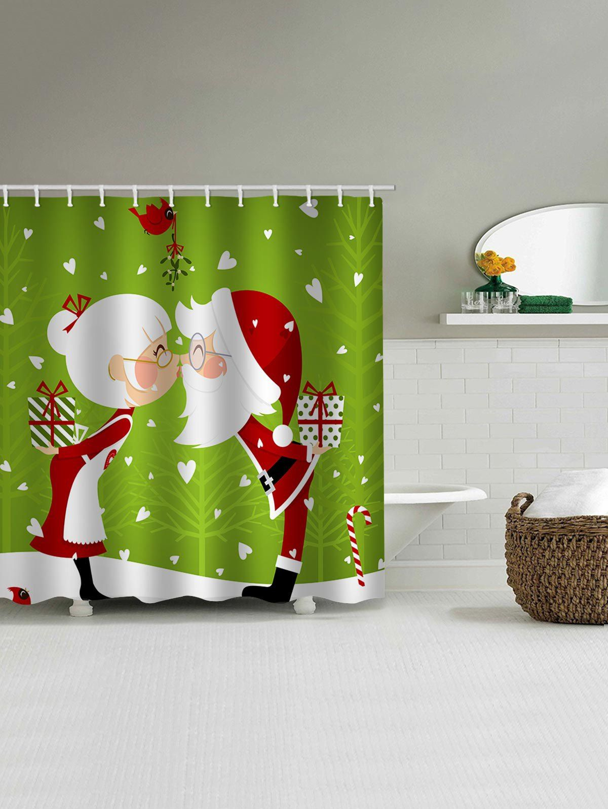 Father Christmas Lover Gift Pattern Waterproof Shower Curtain Ad