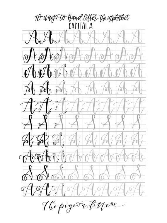 photograph regarding Brush Lettering Practice Sheets Printable referred to as Hand Lettering Prepare Sheets 10 Practices towards Hand Letter the