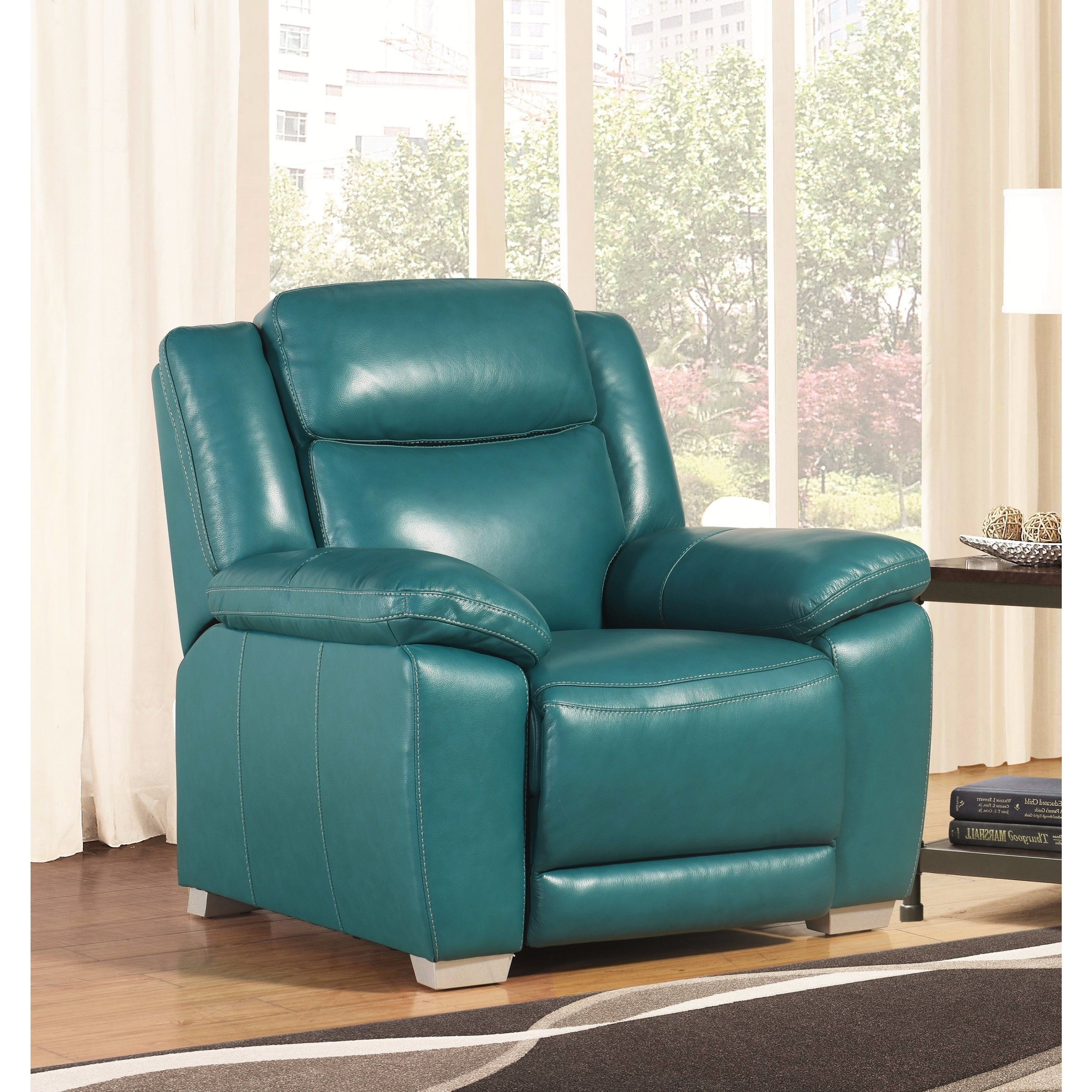 Abbyson leyla turquoise top grain leather recliner living room chair blue