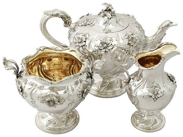 Scottish Sterling Silver Three Piece Tea Service - Antique Victorian SKU: A4948 Price: GBP £2,450.00 http://www.acsilver.co.uk/shop/pc/Scottish-Sterling-Silver-Three-Piece-Tea-Service-Antique-Victorian-67p8644.htm