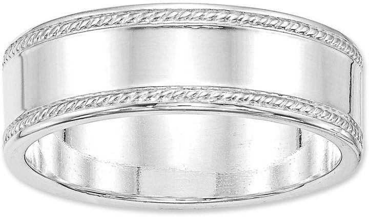Zales Mens 6.0mm Bevel Edge Comfort Fit Wedding Band in Sterling Silver