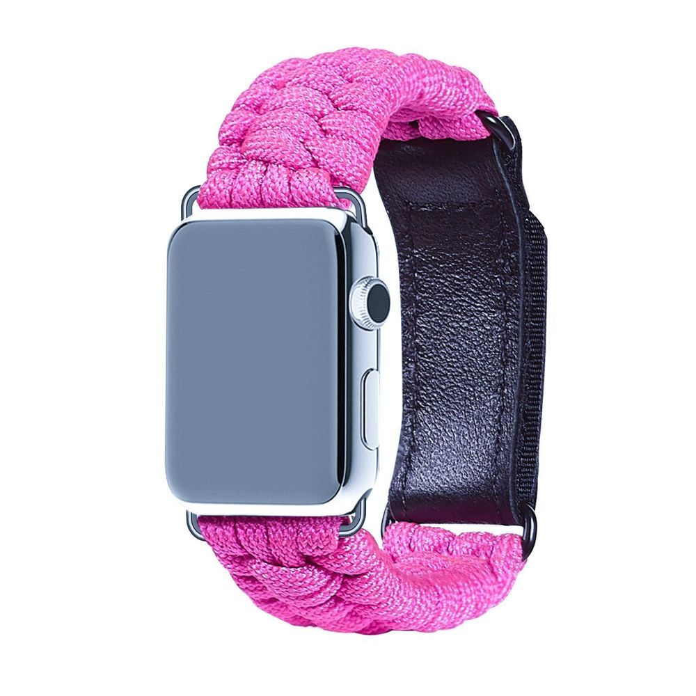 For Apple Watch Band 42mm Paracord Strap Leather Adjustable Clasp Velcro Buckle Leatheradjustableclas 38mm Apple Watch Band Apple Watch Bands 42mm Apple Watch