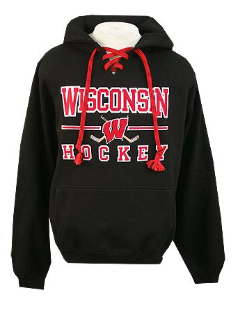 Wisconsin Hockey Black W Stick Laces Hooded Sweatshirt Sweatshirts Hooded Sweatshirts Wisconsin Badgers Apparel
