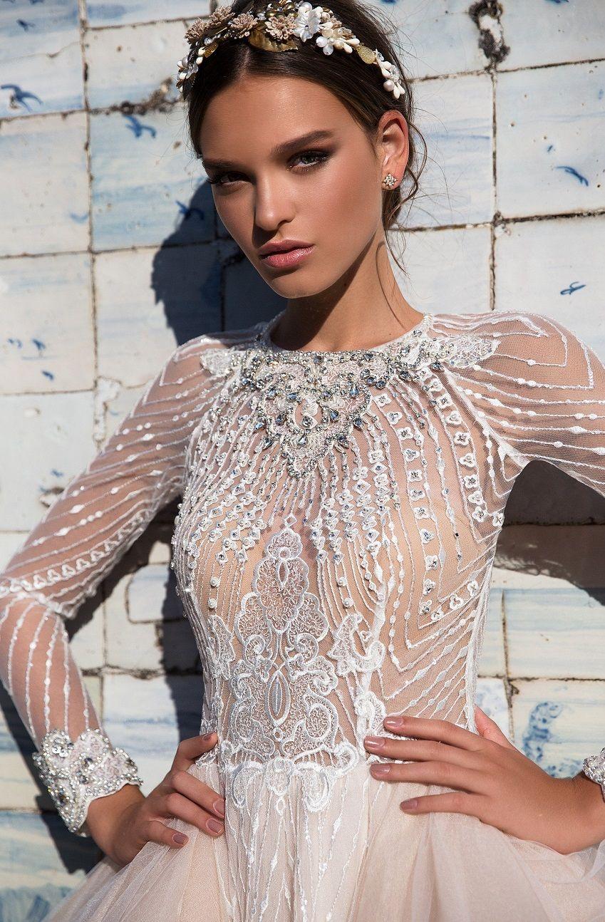 Long sleeves embellishment open back tulle ball gown layered wedding dress #wedding #weddinggown #weddingdresses #weddingdress