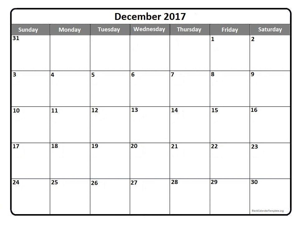 December 2017 Printable Calendar Template Kalendar Pinterest