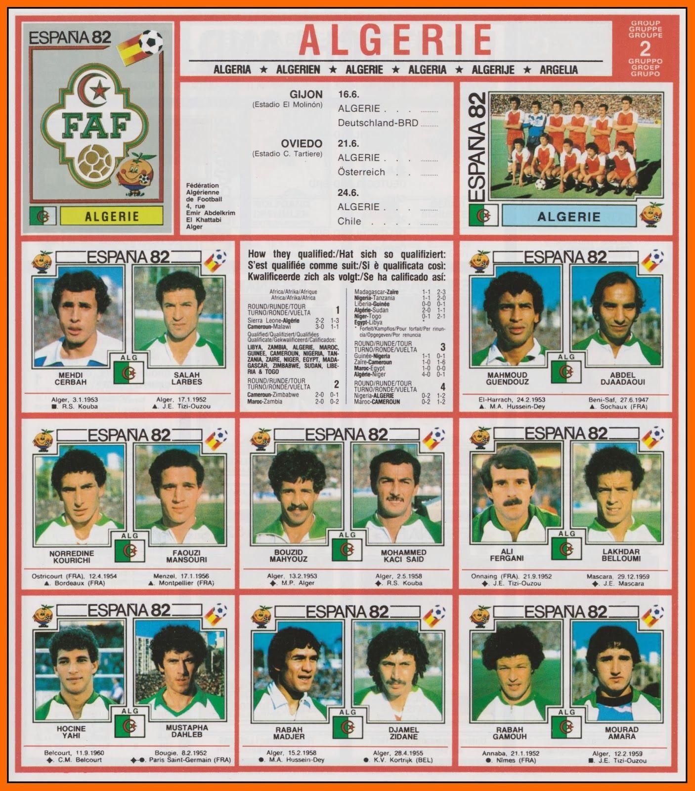 Dans le dernier sujet sur lakhdar belloumi on voquait la formidable coupe du monde 1982 des - Coupe du monde de foot 1982 ...