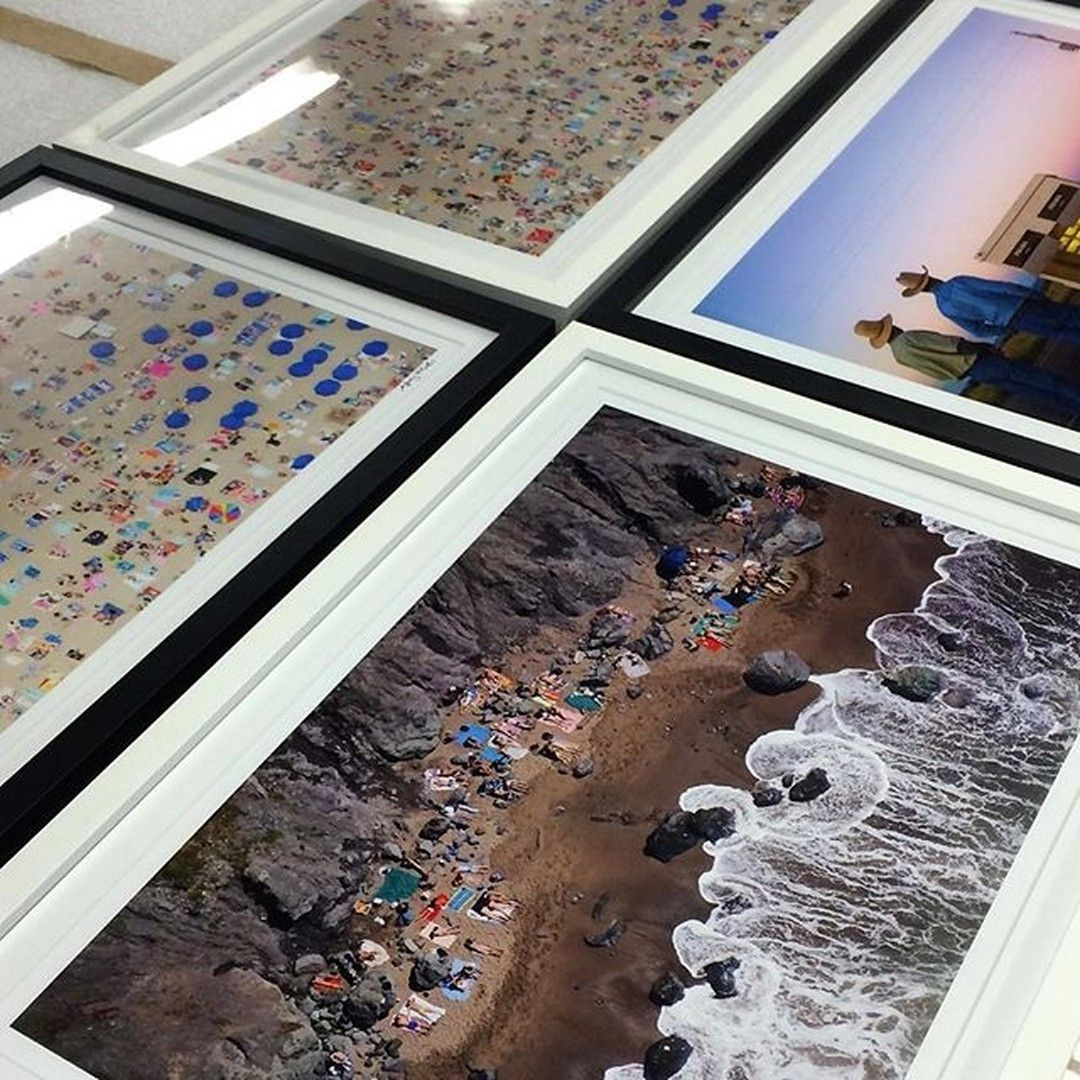 At the frame shop with @graymalin! We would happily custom frame his beach photography all day | Shop our black and white Gallery Frames with a mat