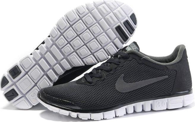 Nike Free 3.0 V2 Mens Running Shoes Black Dark Grey White