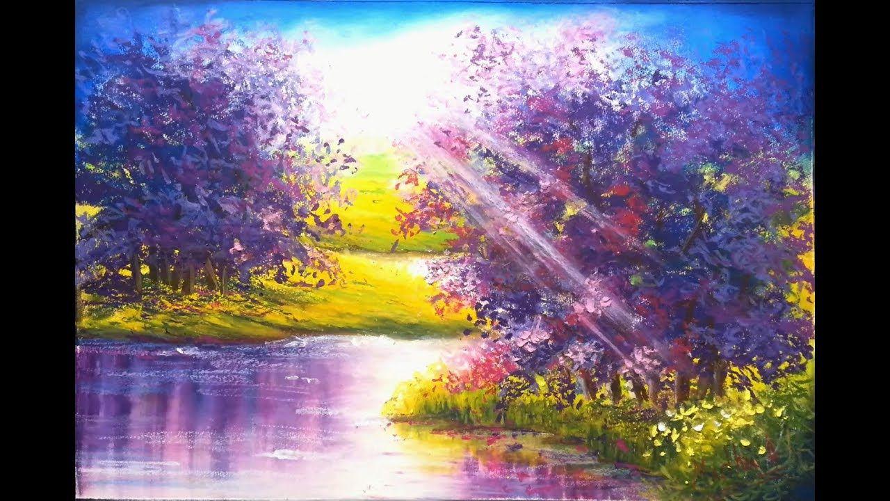 Jacaranda Oil Pastel Painting Lesson Oil Pastel Techniques Oil Pastel Pastel Landscape