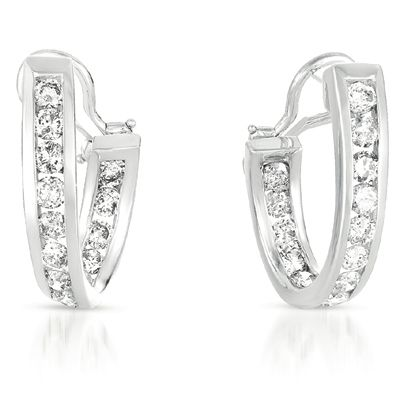 EX1345WG This Diamond Earring Set is made of 14K White Gold. It consists of 28 stones for a total carat weight of 2.65.