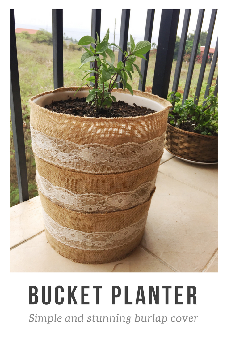 turn a 5 gallon bucket into a planter for your potted garden its as simple as wrapping pieces of this burlap table lining from target around and stapling - 5 Gallon Bucket Garden