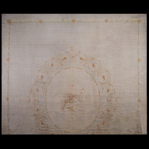 Stock Id: #40-1404    General Rug Type:       European    Specific Rug Type:       Aubusson    Circa: 1900    Color: Ivory    Origin: France    Width: 16' 7'' ( 505.5 cm )    Length: 20' 0'' ( 609.6 cm )