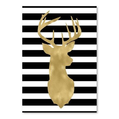 Americanflat Deer Head Right Face Black White Stripe Poster Gallery by Amy Brinkman Graphic Art