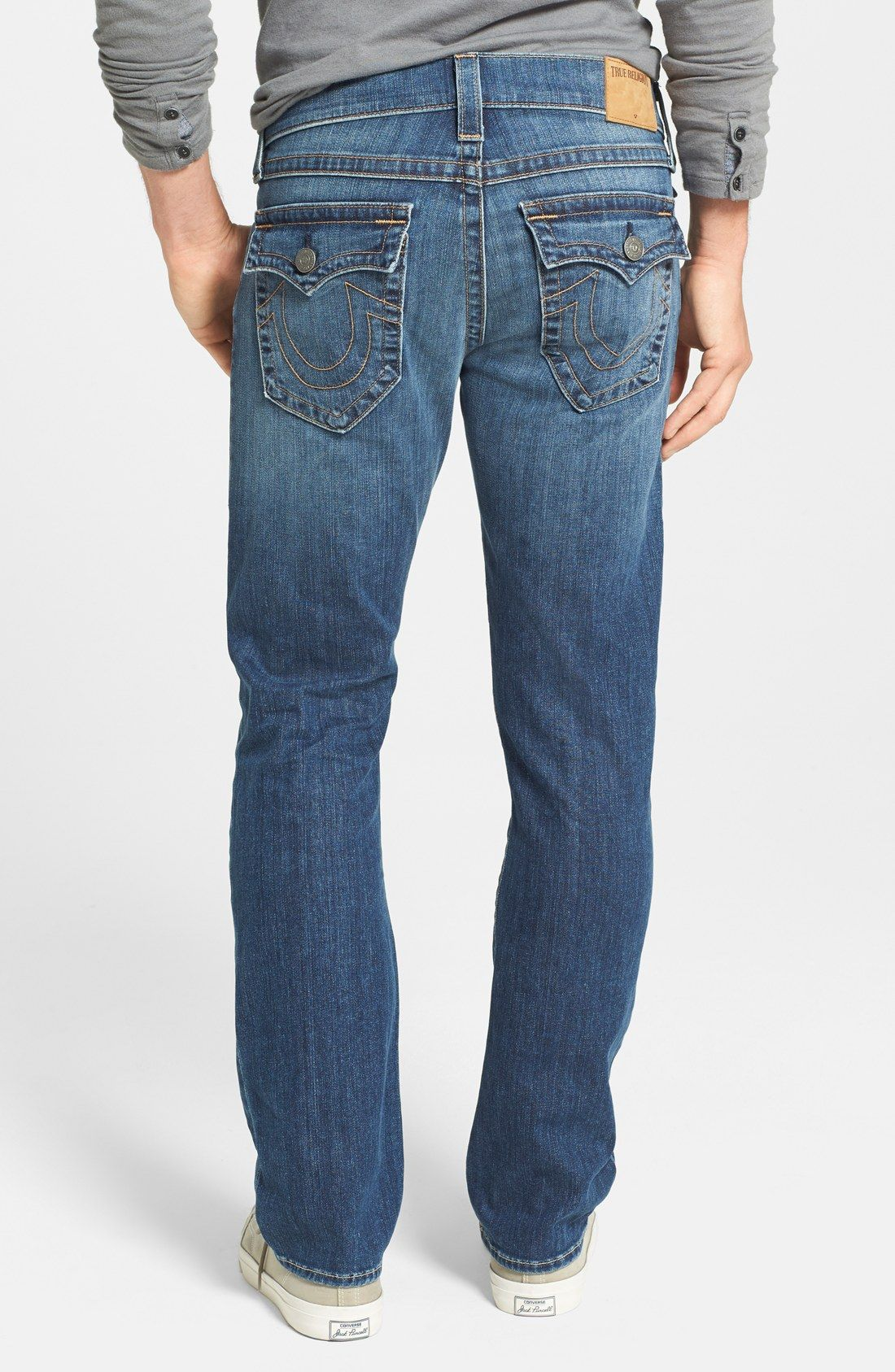 deded1b3591 MADE IN USA OF IMPORTED FABRIC True Religion Brand Jeans  Ricky  Relaxed  Straight Fit Jeans (Lakeview)