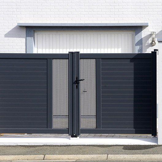 Portail Battant Aluminium Erquy Gris Naterial L 350 Cm X H 153 Cm Door Gate Design House Gate Design Entrance Gates Design