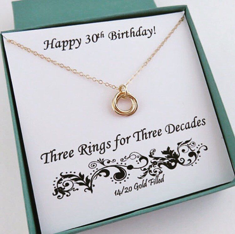 30th Birthday For Her, Gold Birthday Necklace, 30th