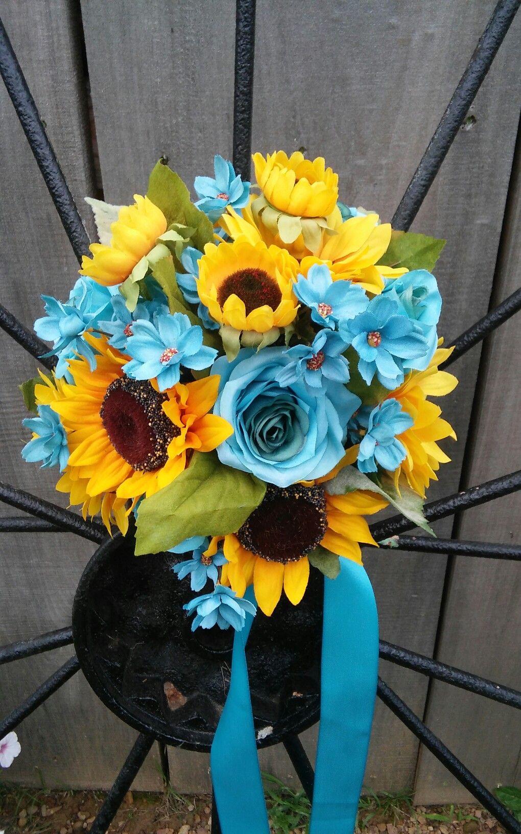 Sunflower Bouquet Turquoise Sunflower Bouquet Bridal Bouquet Malibu Bouquet