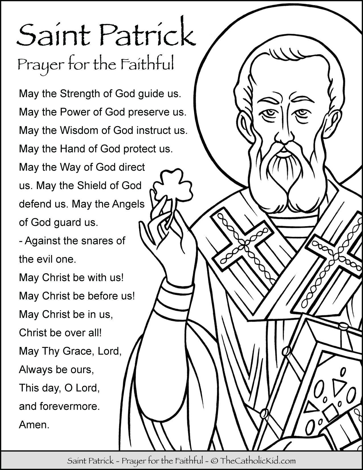 Saint Patrick Prayer Coloring Page St Patrick Prayer St Patrick Catholic Coloring