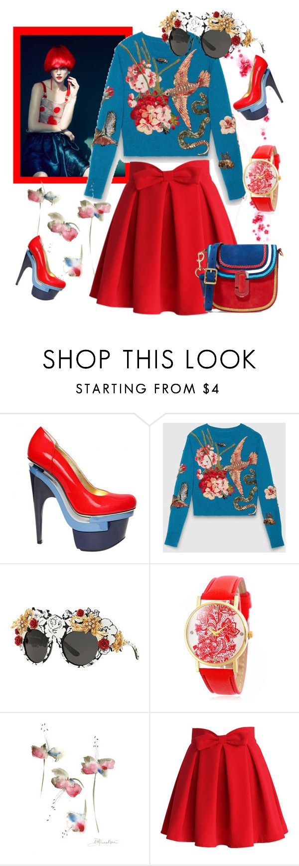 """""""Red and Blue"""" by felicia-mcdonnell ❤ liked on Polyvore featuring Versace, Gucci, Dolce&Gabbana, Chicwish and Marc Jacobs"""