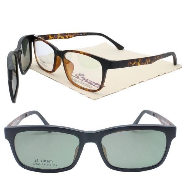85b6ad91ee Ultra Light 006 Ultem Square Shape Optical Glasses Frame With Magnetic Clip  On Polarized Sunglasses Lenses