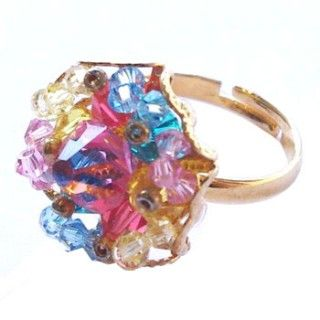 Golden ring with colorful crystal http://enewmall.com/women-rings/