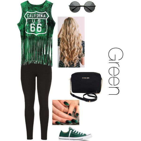Green by lexy200105 on Polyvore featuring moda, maurices, Converse and Michael Kors