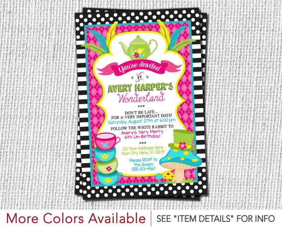 Alice Wounderland Birthday Invitations Colorful Worksheet