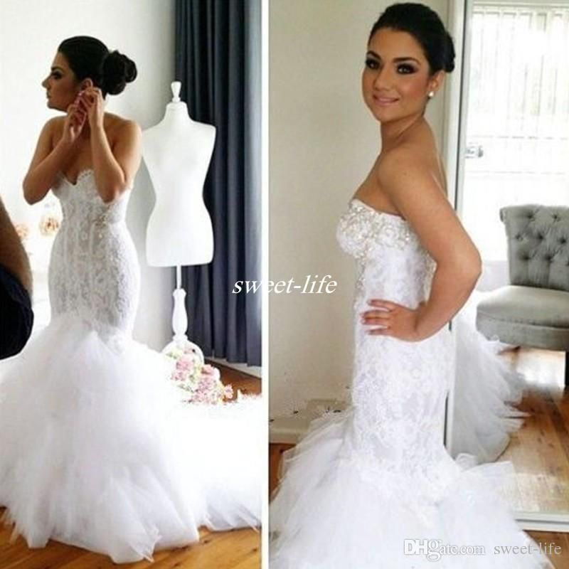 f9bb278c8d26 2016 Lace Mermaid Wedding Dresses Bling Crystals Sweetheart Backless Tiered  Tulle Chapel Train Sexy Bridal Gowns