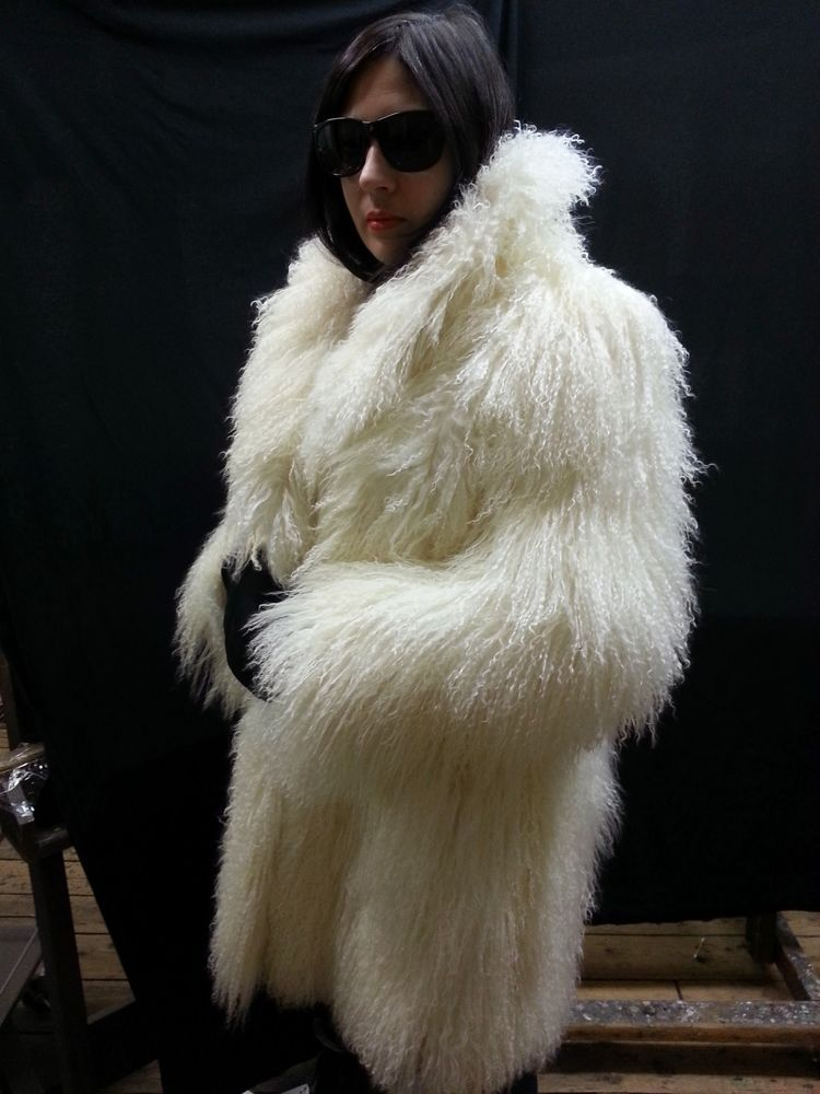 WHITE MONGOLIAN LAMB FUR COAT-SHAGGY JACKET- REAL FUR- GREAT CONDITION!-SIZE L-  #notlisted #coatjacket