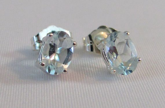 Aquamarine Post Earrings In Sterling Silver Jewelry March Birthstone Stud