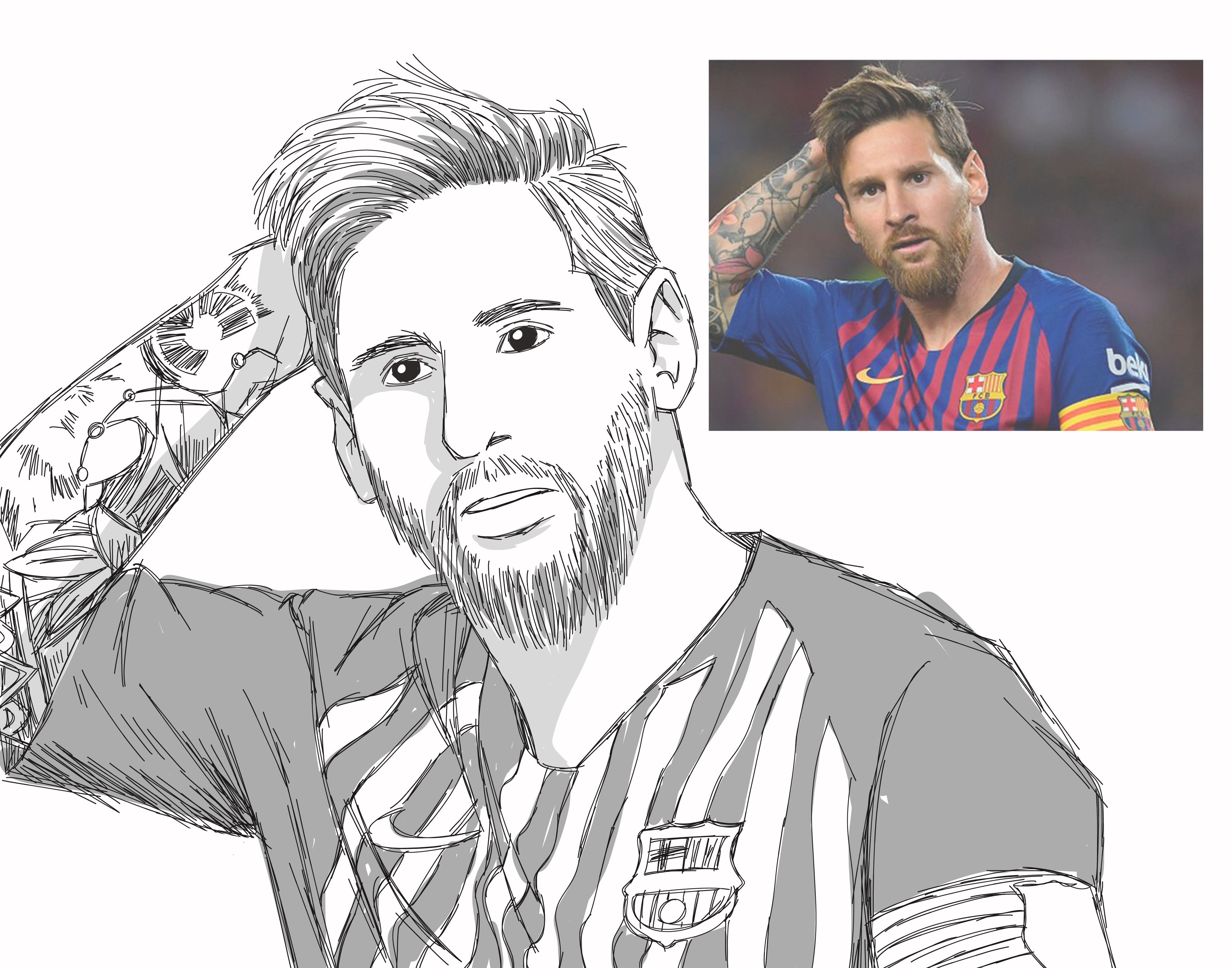 Radenalanwijaya I Will Draw Sketch Of You For 5 On Fiverr Com Messi Drawing Football Player Drawing Pencil Art Drawings