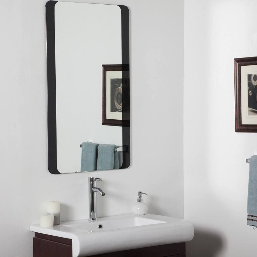 Black Mirror With Curved Corners Large Bathroom Mirrors
