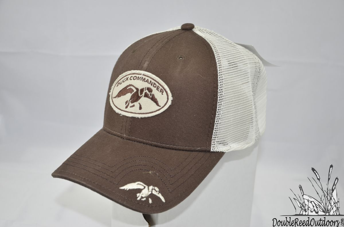 61acba3e3e2 Double Reed Outdoors - Duck Commander Brown Mesh Fitted Duck Commander Hat  A-flex Fit