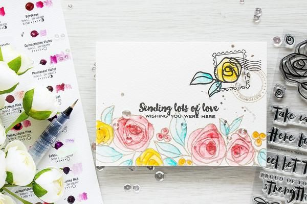 Illustrated by: May Sukyong Park With some fun lettering and multiple floral images that are fun to color, this set is perfect to bring some interest to your cards. Stamp the accents on the back of an