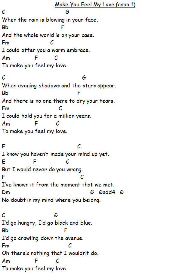 Make You Feel My Love Lyrics Music Pinterest Ukulele Music