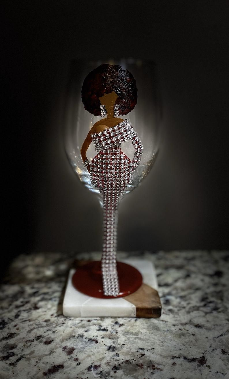 afrocentric wine glass wine glass with art Handpainted Wine Glass wine glass with afro lady afro lady wine glass painted wine glass