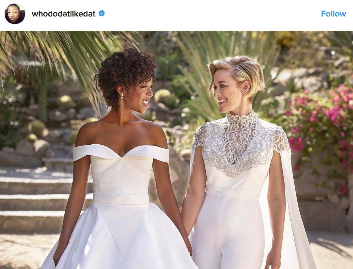 Samira wiley wedding dress  Orange Is the New Blackus Samira Wiley and Lauren Morelli got