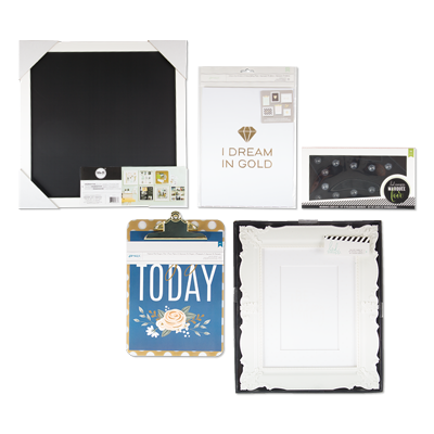Gallery Wall Kit includes a magnetic chalkboard, frame, clipboard ...