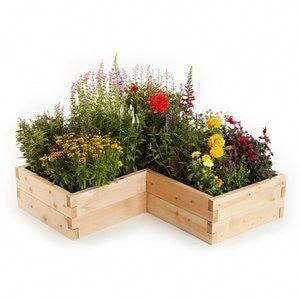 Natural Cedar L-Shaped Raised Garden Beds #gardendesign